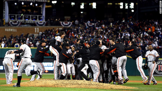 The San Francisco Giants celebrate after the team beat the Detroit Tigers in 10 innings to win the World Series on Sunday, October 28, at Comerica Park in Detroit. The Giants defeated the Tigers 4-3 to sweep the series in four games. See the best photos of Game 3 here.