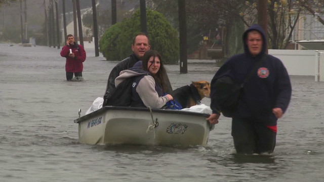 New York's Long Island is experiencing gale-force winds and flooding in some areas.