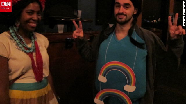 "The man on the right is sporting the Double Rainbow meme at the <a href='http://ireport.cnn.com/docs/DOC-864935'>HallowMEME</a> costume party. The <a href='http://knowyourmeme.com/memes/double-rainbow' target='_blank'>Double Rainbow</a> became an Internet sensation after the video ""Yosemitebear Mountain Giant Double Rainbow 1-8-10"" went viral online."