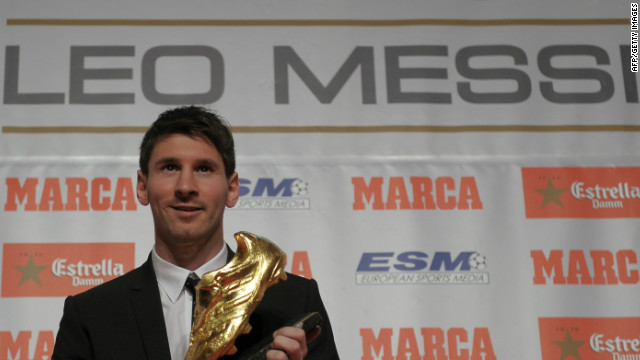 Barcelona striker Lionel Messi picked up his second golden boot, for being the top scorer in Europe for 2011/12 