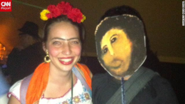 <a href='http://ireport.cnn.com/docs/DOC-865461'>Alice Feigel</a>, dressed as Frida Kahlo on the left, is standing next to Internet meme <a href='http://knowyourmeme.com/memes/events/botched-ecce-homo-painting' target='_blank'>Botched Ecce Homo Painting</a>. The meme when viral online after the <a href='http://news.blogs.cnn.com/2012/08/23/church-masterpiece-restored-as-mr-bean-would-do-it/'>failed restoration</a> of a century-old fresco of Jesus Christ.