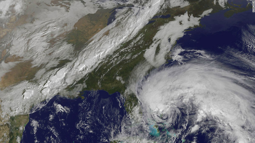 A satellite view of Hurricane Sandy shows the storm at 10:15 a.m. ET on Friday, October 26. Though it was no longer considered a hurricane when it hit the U.S., &quot;post-tropical&quot; Superstorm Sandy packed a hurricane-sized punch.