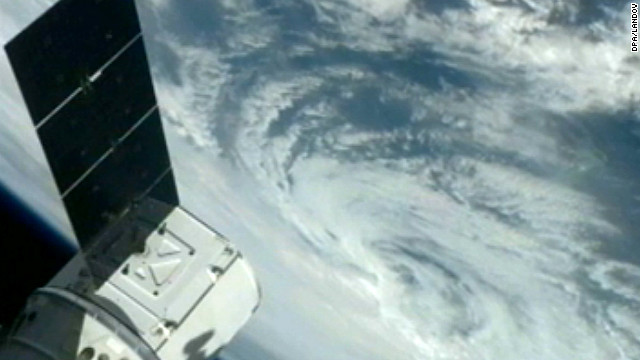 The storm is seen from from the International Space Station on October 26.