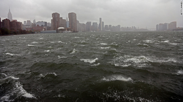 The East River in New York churns as Hurricane Sandy approaches on Monday.