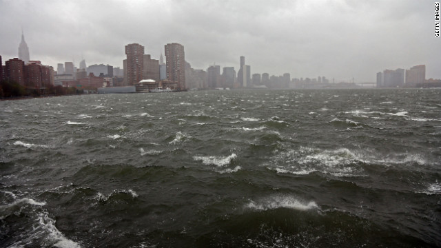 The New York skyline is seen from the bank of the East River on Monday.