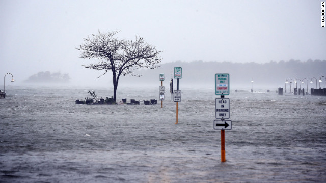 Floodwaters cover the streets of Rehoboth Beach, Delaware, on Monday.