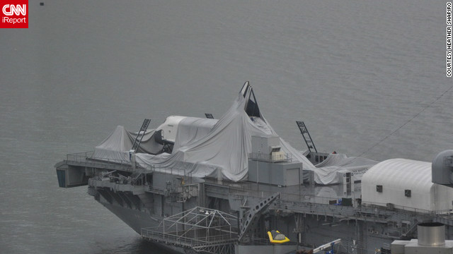 Sandy exposes space shuttle Enterprise
