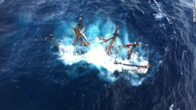 The 180-foot sailboat is seen submerged in the Atlantic Ocean. U.S. Coast Guard photo by Petty Officer 2nd Class Tim Kuklewski.