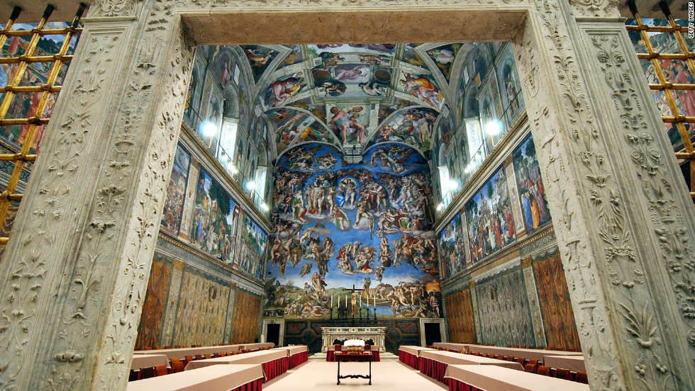 In Vatican City, the Sistine Chapel is known for housing the papal conclave, in which the College of Cardinals gathers <a href='http://www.cnn.com/SPECIALS/world/pope/index.html'>to elect the next pope</a>. Its ceiling is one of the most recognized pieces of art in the world.