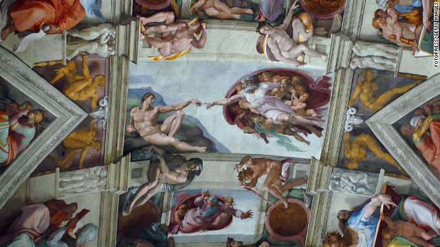 One of the most iconic parts of the ceiling is the &quot;Creation of Adam.&quot; The ceiling features nine main panels with stories from the Old Testament's Genesis. It was completed by Michelangelo Buonarroti in 1512.