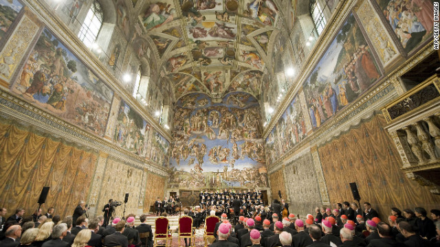"The chapel features another famous painting by Michelangelo, ""The Last Judgment,"" seen on the far wall above the altar. It was completed in 1541."