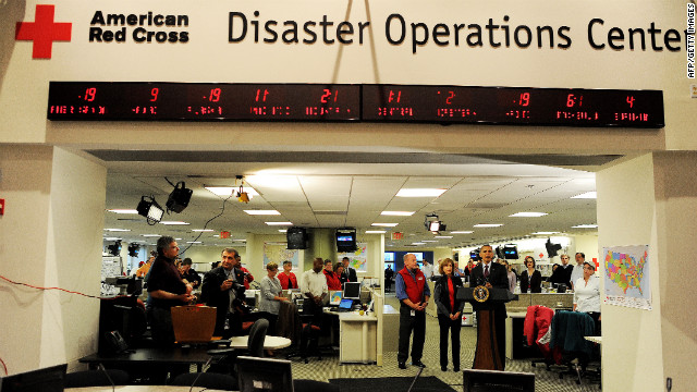 President Barack Obama outlines the federal government's response to Superstorm Sandy at the Red Cross headquarters in Washington.