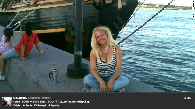 Claudene Christian tweeted this image of her with the Bounty on June 23 of last year.