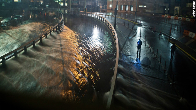 Water from Hurricane Sandy rushes into the Carey Tunnel in the Financial District of New York on October 29, 2012.