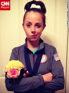 "Rachel Cabrera of Chicago, Illinois, decided to dress as ""<a href='http://news.blogs.cnn.com/2012/08/16/fierce-five-gymnasts-show-off-skills/'>McKayla Maroney is not impressed</a>."" ""Since the Olympics were this year and the Women's U.S. Gymnastics team did so well, I considered being a member of the Fierce Five,"" she said. ""I really loved the idea of being McKayla over any other gymnast because I could easily play the part. The 'McKayla is not impressed' meme was my <a href='http://ireport.cnn.com/docs/DOC-866907'>favorite way</a> to approach being McKayla."""