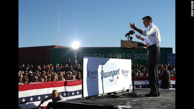 Romney speaks during a campaign rally at Seven Cities Sod on Monday in Davenport, Iowa.