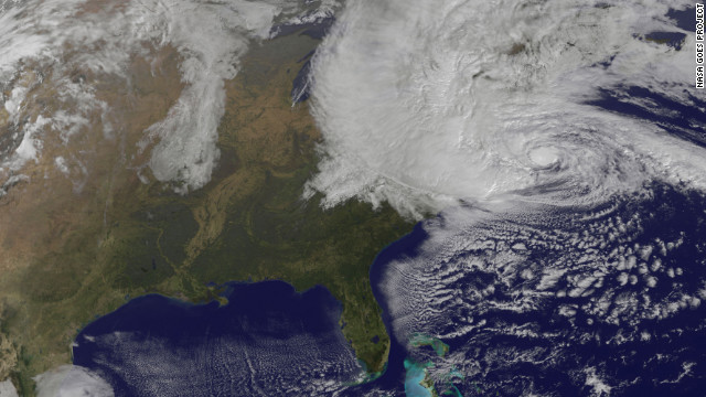 Superstorm Sandy officially made landfall Monday evening along the coast of southern New Jersey, the National Hurricane Center reported. This image shows the storm at 7:40 p.m. ET.