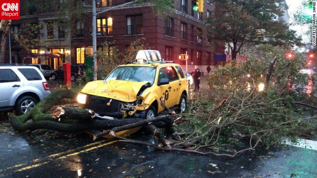 CNN iReporter Yaron Samid captured this photo outside his apartment in New York on Monday.