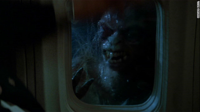 """Twilight Zone,"" a film adaptation of the popular sci-fi TV series, includes the story of an airplane passenger who is terrorized by visions of a monster on the wing of the plane."