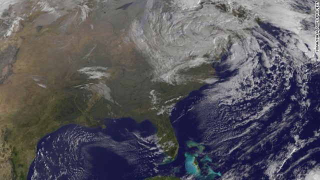 The Northeast Corridor slowly struggled back to life on Wednesday after the knockout punch from Superstorm Sandy. This image shows the storm at 9:10 a.m. ET on Wednesday, October 31.