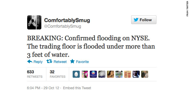 This tweet was one of several false reports posted by Twitter user @ComfortablySmug as Sandy pummeled New York.