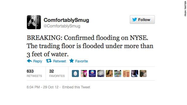 """Un hombre pierde su trabajo por tuitear falsas alarmas sobre """"Sandy"""" en Nueva York"""