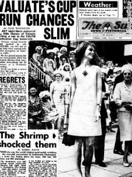 For the first time since the inaugural race in 1861, the winning horse was knocked off newspaper front pages in favour of Shrimpton's legs.