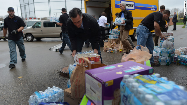At Romney storm event, some donations supplied by campaign