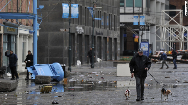 A man and his dogs survey the destruction in South Street Seaport as New Yorkers clean on the morning of Tuesday, October 20, after Hurricane Sandy made landfall the night before.