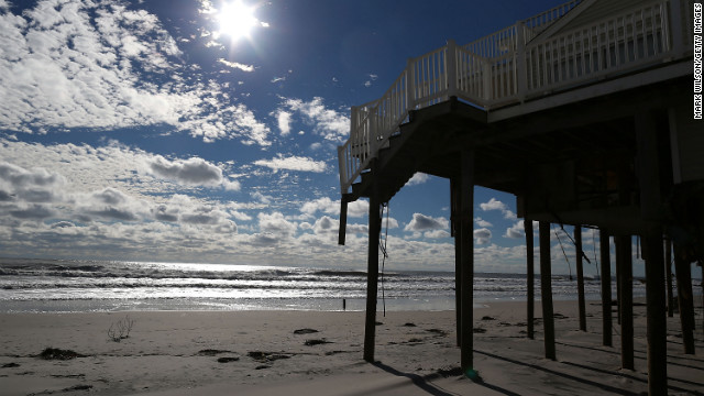 Superstorm Sandy stripped the steps from the deck of this home in Long Beach Island, New Jersey.