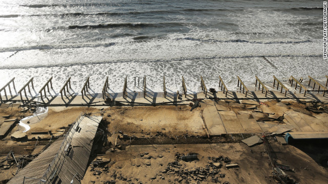The Rockaway boardwalk in Queens, New York, was stripped down to the piers by Superstorm Sandy. 