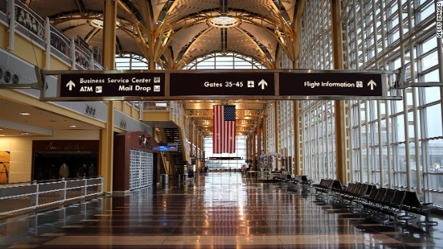 Reagan National Airport in Washington was nearly deserted Monday ahead of Superstorm Sandy. 