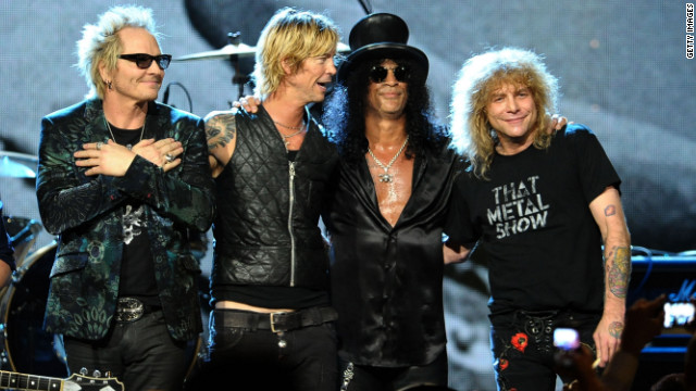 Matt Sorum, left to right, Duff McKagan, Slash and Steven Adler perform onstage during the 27th Rock And Roll Hall of Fame Induction Ceremony in Cleveland, Ohio, in April.