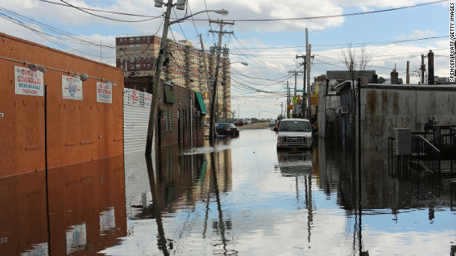 Flood-damaged streets are viewed in the Rockaway section of Queens, New York, where the historic boardwalk was washed away due to Hurricane Sandy.