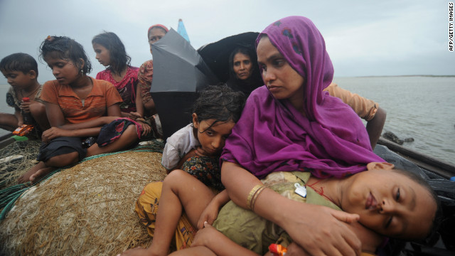 This file picture taken on June 13, 2012 shows migrants in Teknaf, from where the boat is said to have set off.