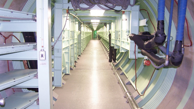 The facility's silo cableway tunnel connects the launch control center to the missile silo.