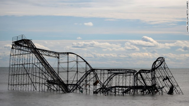 A roller coaster sits in the Atlantic Ocean on Thursday after the Fun Town pier it sat on in Seaside Heights, New Jersey<strong>, </strong>was destroyed by Superstorm Sandy.