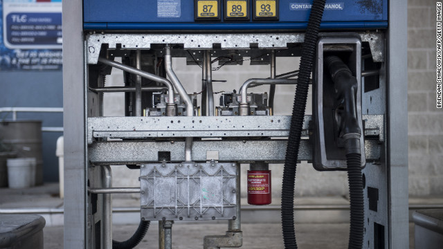 The inside of a gas pump is exposed at a closed station that was recently under floodwater on Thursday, November 1, in Hoboken, New Jersey. Superstorm Sandy, which made landfall along the New Jersey shore, has left the state with a fuel shortage due to logistical problems and power failures.