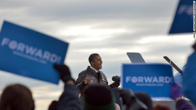 Obama addresses a campaign rally Thursday at Austin Straubel International Airport in Green Bay, Wisconsin.