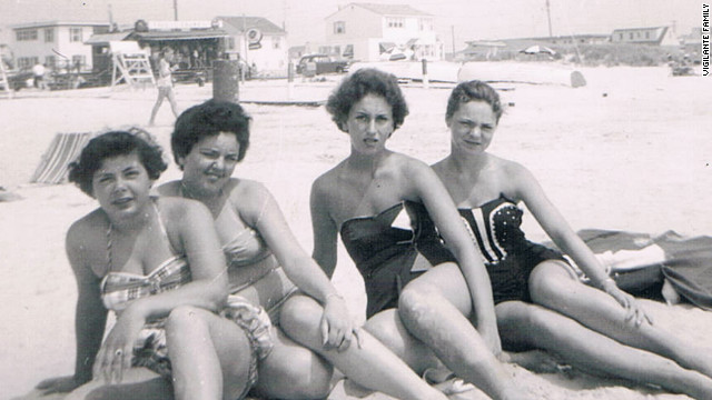 My mom (far right) and my Aunt Olivia (next to my mom) at the shore, 1958