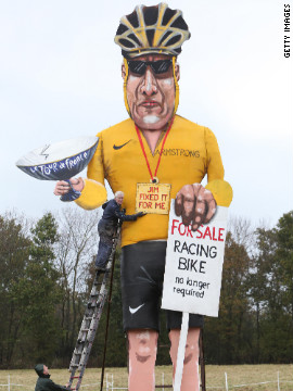 Disgraced cyclist Lance Armstrong is the subject of annual Bonfire Night celebrations in the British town of Edenbridge. An effigy of Armstrong will be burned during the celebrations, which mark the foiling of Guy Fawkes' &quot;gunpowder plot&quot; to blow up the Houses of Parliament and kill King James I in 1605. The Edenbridge Bonfire Soceity has gained a reputation for using celebrity &quot;Guys,&quot; including Tony Blair, Jacques Chirac and Saddam Hussein.