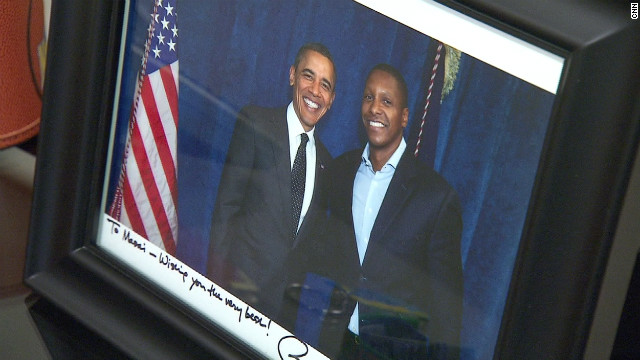 Ujiri poses alongside President Barack Obama, himself a keen basketball fan.
