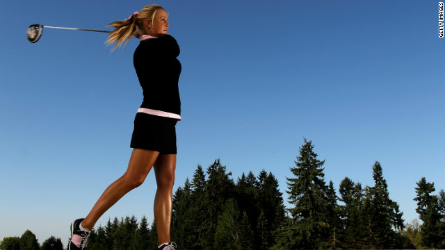 Professional golfer Amanda Blumenherst has some tricks to get through a travel-intensive schedule. One habit: She always brings reduced-fat peanut butter.