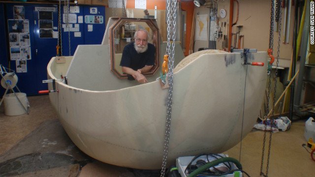 Sven Yrvind With His Half Constructed Vessel, Yrvind Ten. The 73 Year