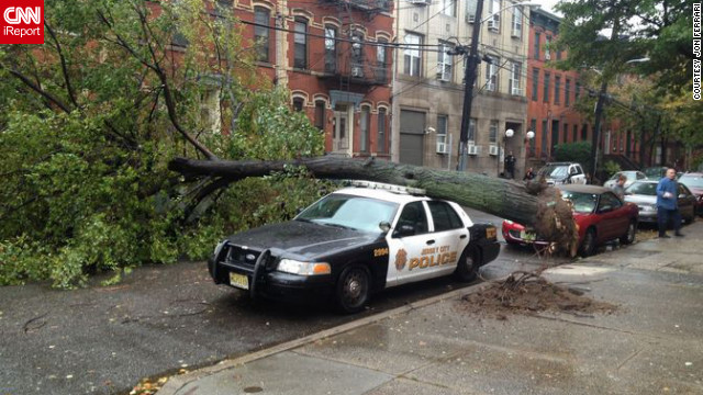 Sandy also brought strong winds that knocked down trees and power lines across Jersey City.