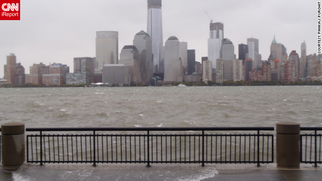 Hurricane Sandy triggered widespread flooding along Jersey City's waterfront, which lies just across the Hudson River from lower Manhattan. Hours before the storm roared ashore on October 29, floodwaters washed out Essex Street in Jersey City.