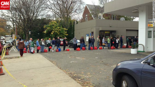 On Halloween, residents in Morristown lined up to fill containers with gasoline. While not directly on the coast, Morristown experienced major power outages and some damage from heavy winds and rains brought on by the storm. 
