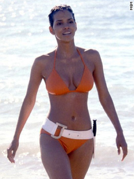 "Halle Berry's Giacinta Johnson earned the nickname Jinx because she was born on Friday the 13th. In homage to Andress' Honey Ryder, audiences first see Berry as she emerges from the ocean wearing an orange bikini in 2002's ""Die Another Day."""