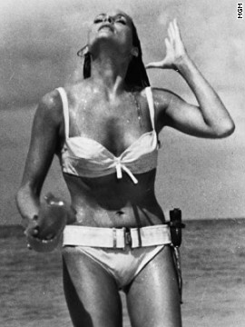 Ursula Andress played Honey Ryder opposite Sean Connery's James Bond in the 1962 film &quot;Dr. No.&quot; Bond first sees Ryder as she emerges from the ocean wearing a white bikini. She asks him, &quot;What are you doing here? Looking for shells?&quot; He replies, &quot;No. I'm just looking.&quot;