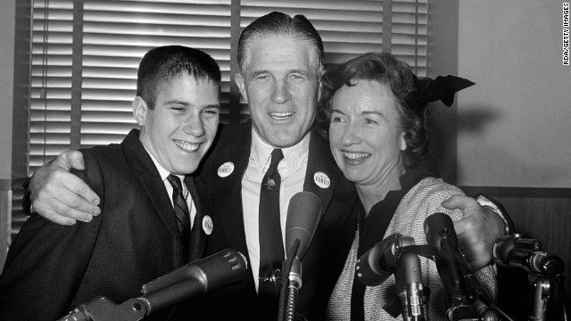 A young Mitt Romney with his parents, George W. and Lenore Romney, in 1962.